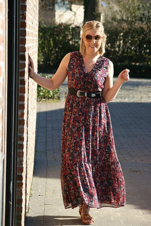 54028 Romantische lange jurk met fijn rood bloemetje LIU JO