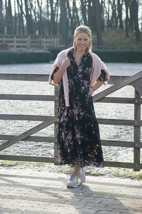 54557 Lange zwarte jurk met gele/roze bloemen Senso