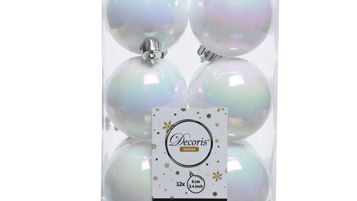 5/ Boule Plastique Blanc Irisé Uni par 6 Ø6cm