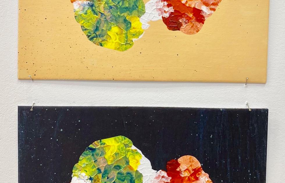 Symmetry Monoprints orange_black - Liisa Nel