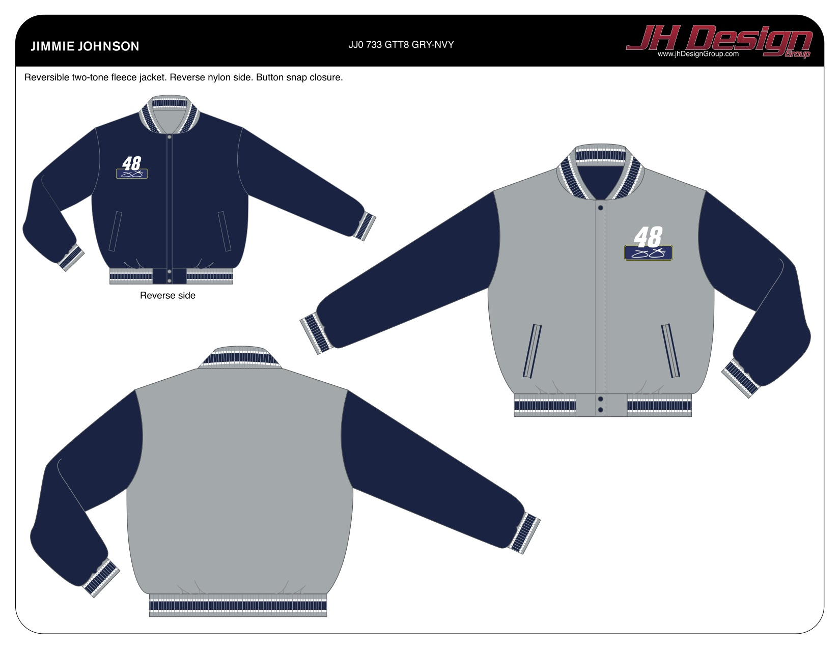 JJ0 733 GTT8 GRY-NVY