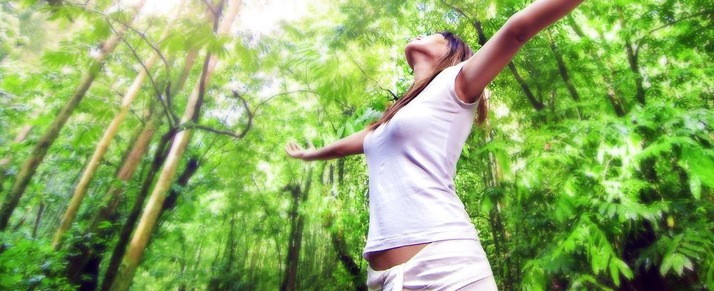 Respirer, femme, serenité, relaxation