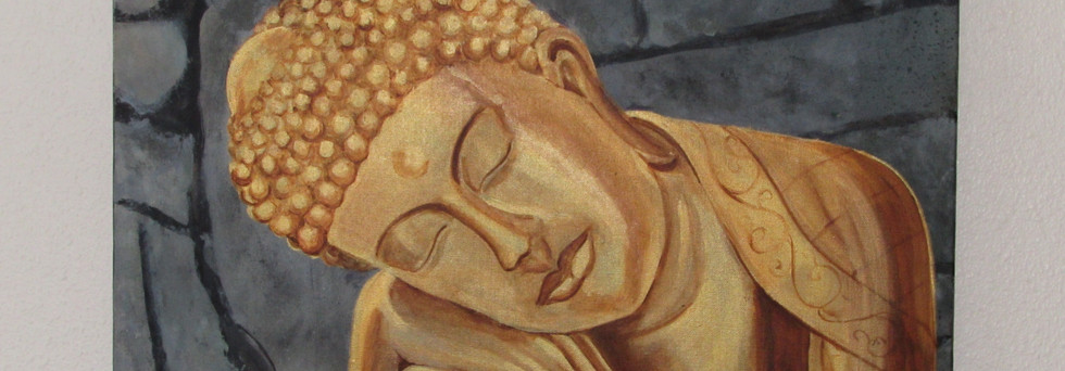 Acrylic on canvas. A Golden Buddha that is enlightened by a dark false stone background. This painting gives a sense of inner peace.
