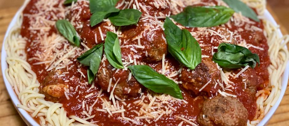 Spaghetti with Mozzarella Stuffed Meatballs