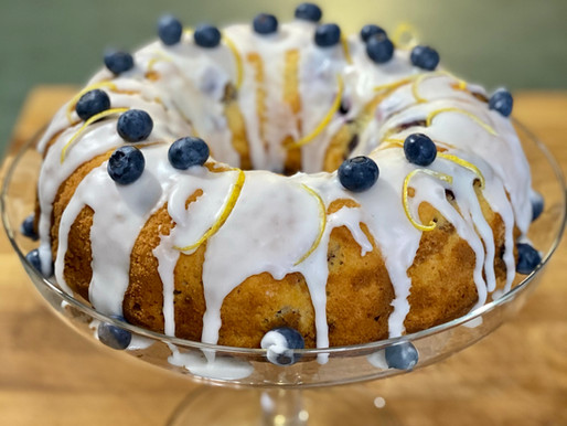 Lemon and Blueberry Bundt Cake with Lemon Drizzle and Blueberry Compote