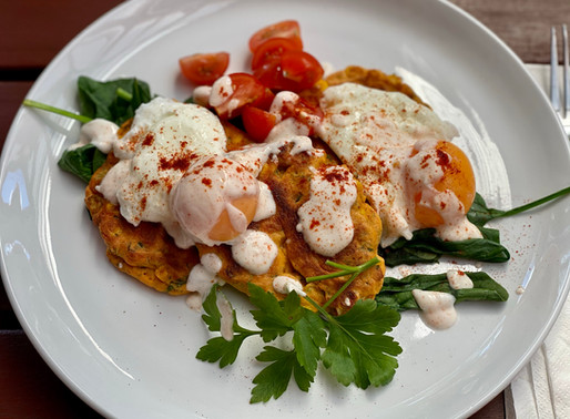 Spiced Corn Fritters with Spinach & Poached Eggs