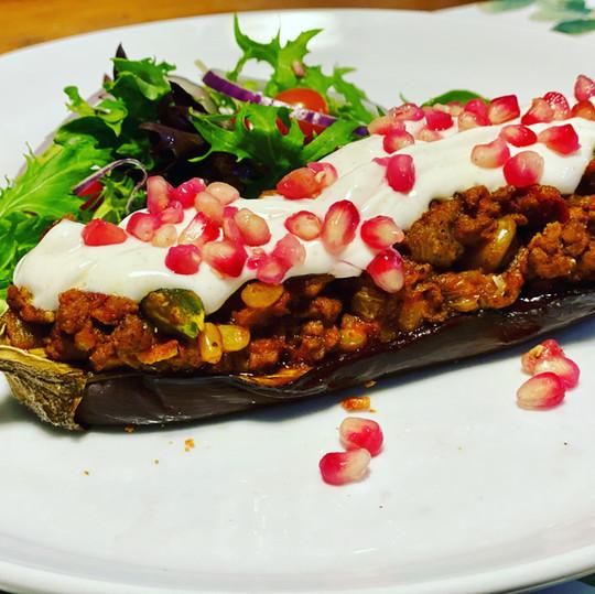 Middle Eastern Lamb Stuffed Eggplants