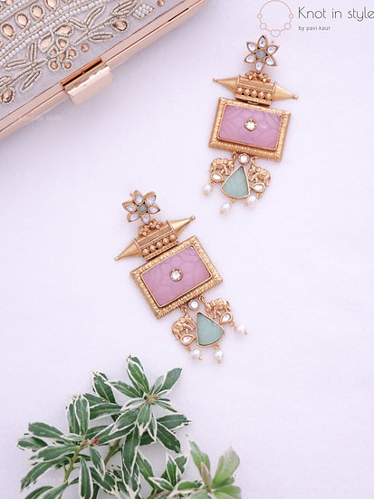 Kundan oversized earrings