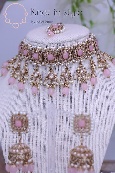 Polki choker set with jhumkis