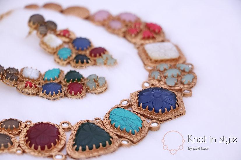 """FIJI"" Multicolored necklace set earrings or studs"