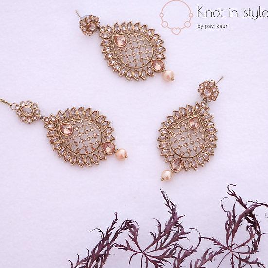 Polki earrings/tikka set
