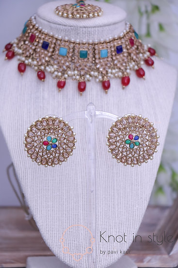 Polki choker set with oversized studs/tikka