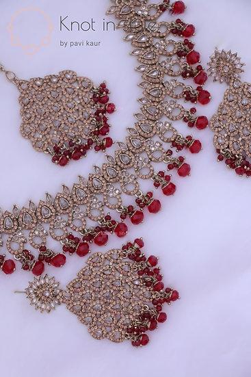 Polki stoned choker necklace set