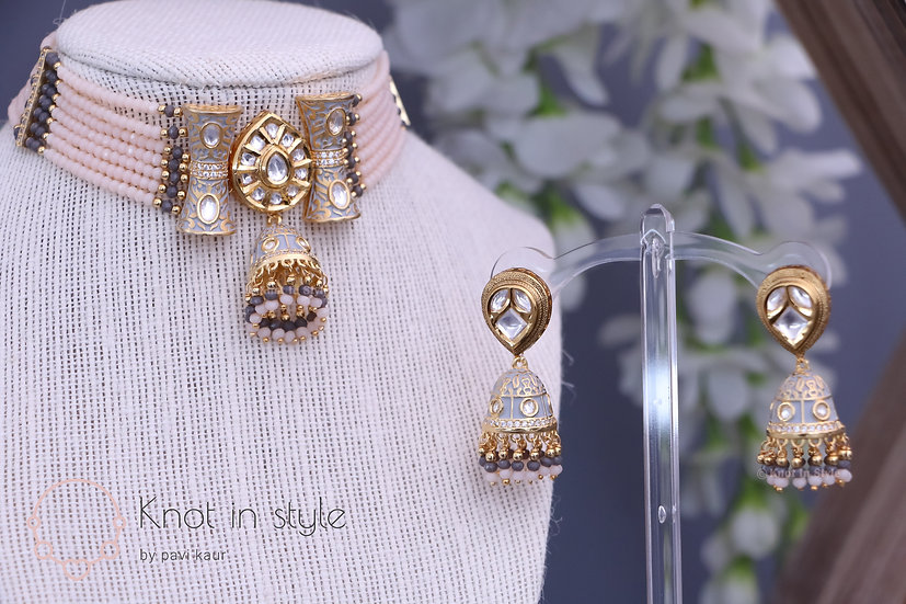 Exclusive hand-painted kundan choker with jhumkis