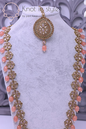 Polki necklace set with studs ( Long haar )