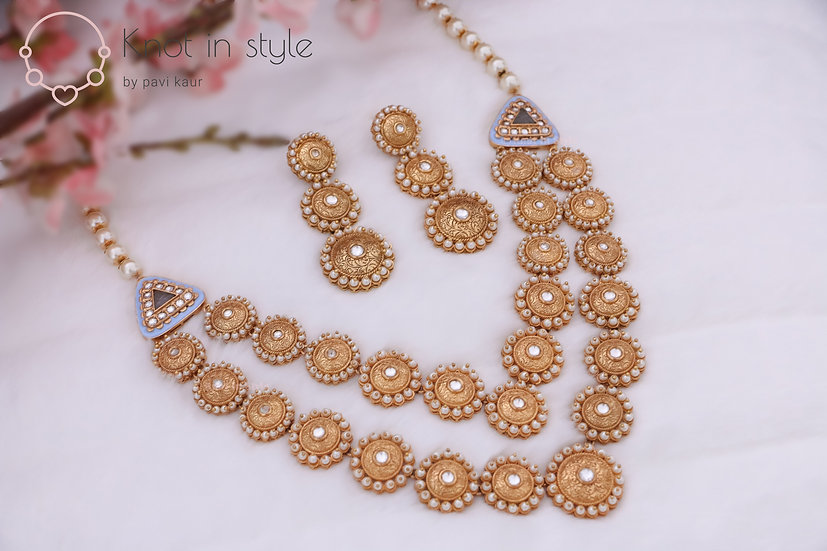 """KAUAI"" Kundan necklace set with earrings"