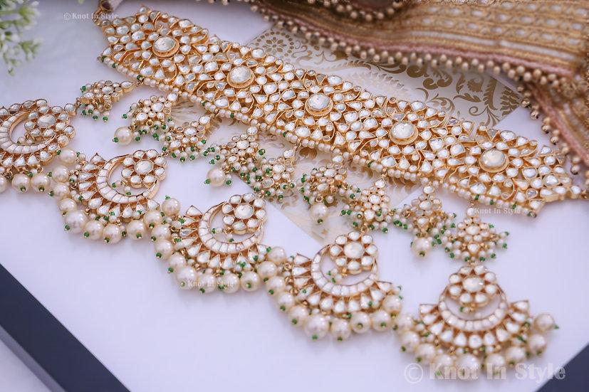 """BUDAPEST"" High quality pachi kundan full bridal set"
