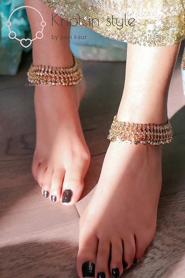 Polki two line anklets
