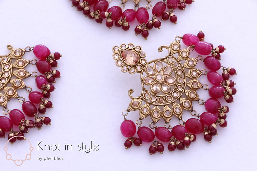 Oversized polki earrings/tikka set