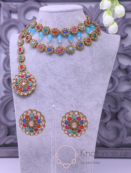 Polki choker set with studs