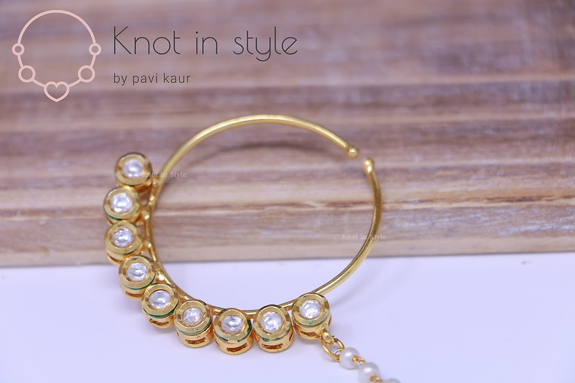 Kundan clip on nose ring (large)