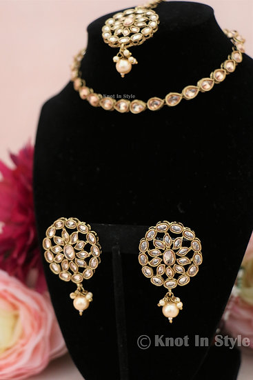 Single line polki choker with/without studs