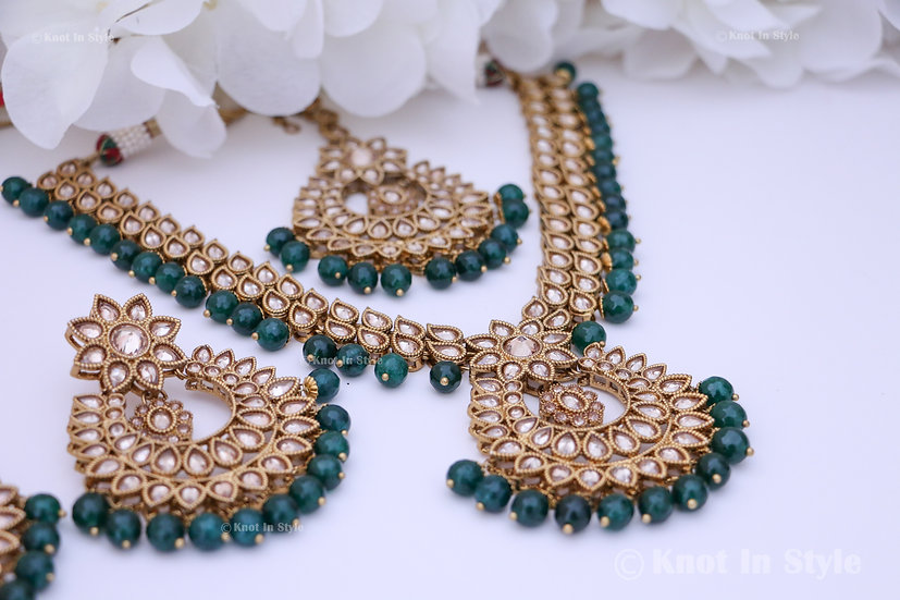 Polki necklace set with oversized earrings/tikka