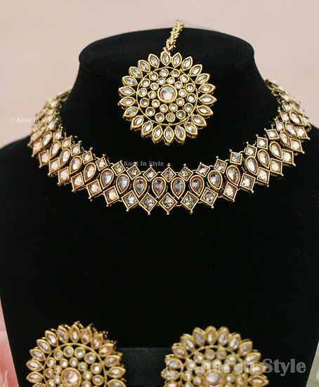 Polki necklace set with studs