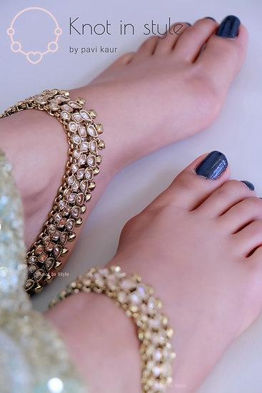 Polki three line anklets