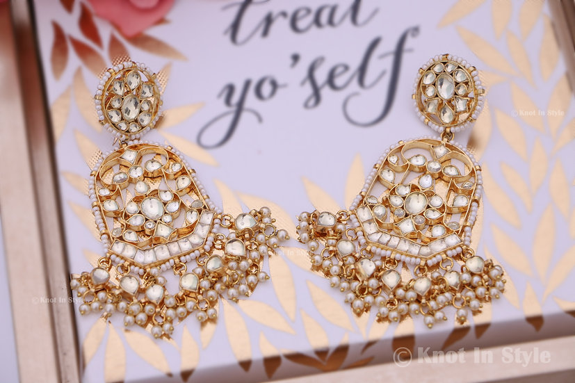 """PUSHKAR"" pachi kundan earrings"