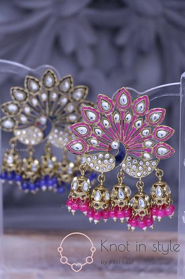Hand-painted peacock earrings  (no tikka)