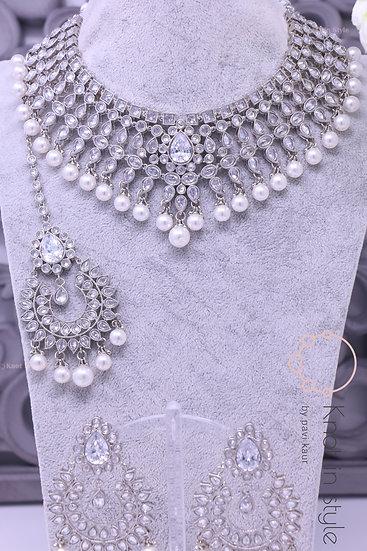 Silver polki necklace set