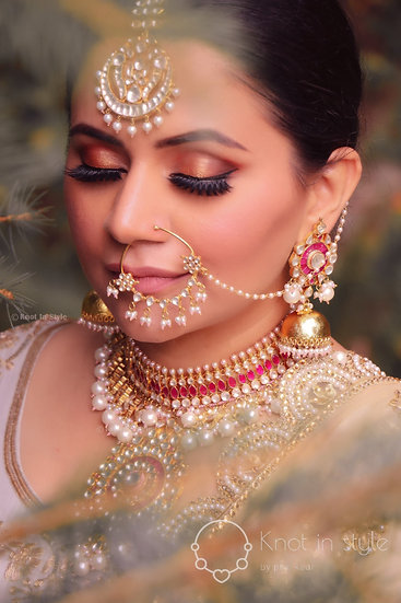 """SINTRA"" High end pachi kundan set with nose ring"