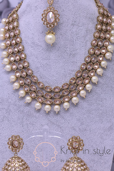 Polki necklace set with jhumkis