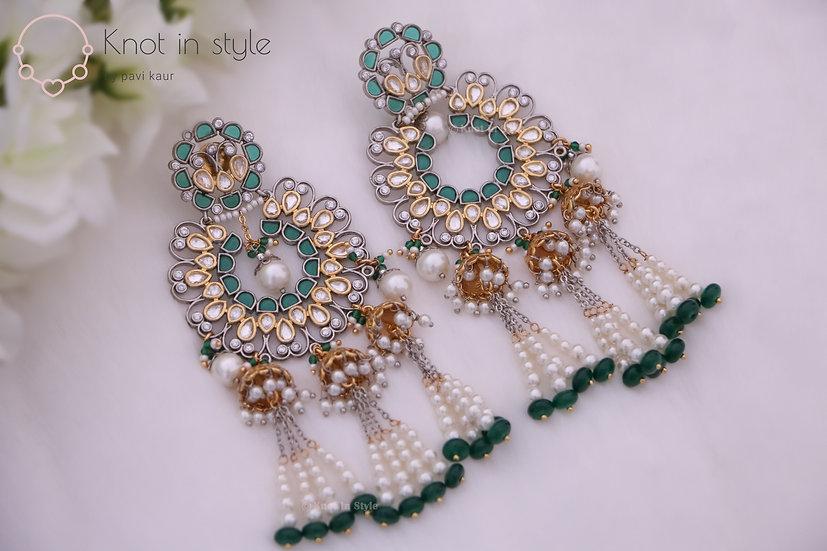Oversized kundan earrings
