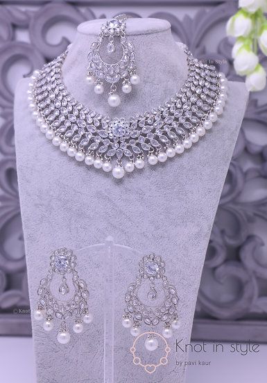 Silver polki necklace set