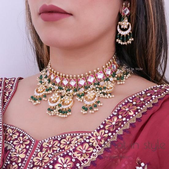 High end pachi kundan choker set with earrings