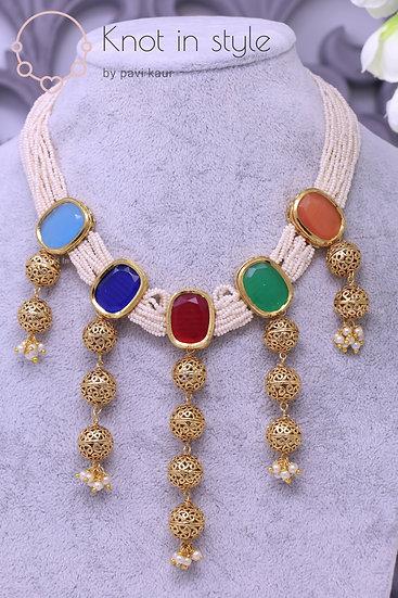 Kundan necklace set (with tikka)