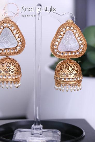 """""""TAHITI"""" Kundan gold polish jhumkis (oversized)"""