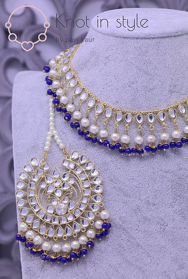 Single line kundan necklace with earrings/tikka (Oversize)