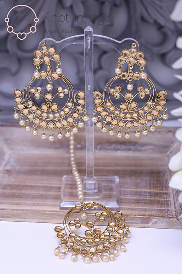 High quality kundan earrings/tikka set (Oversize)