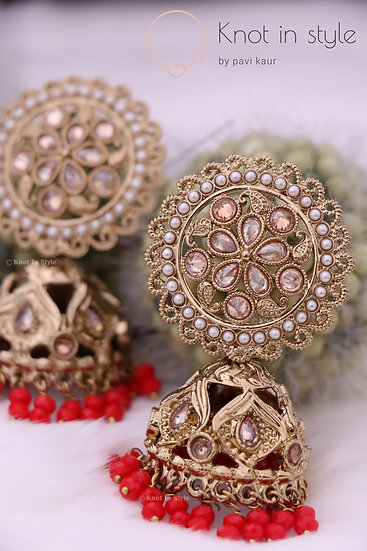 Antique polki jhumkis