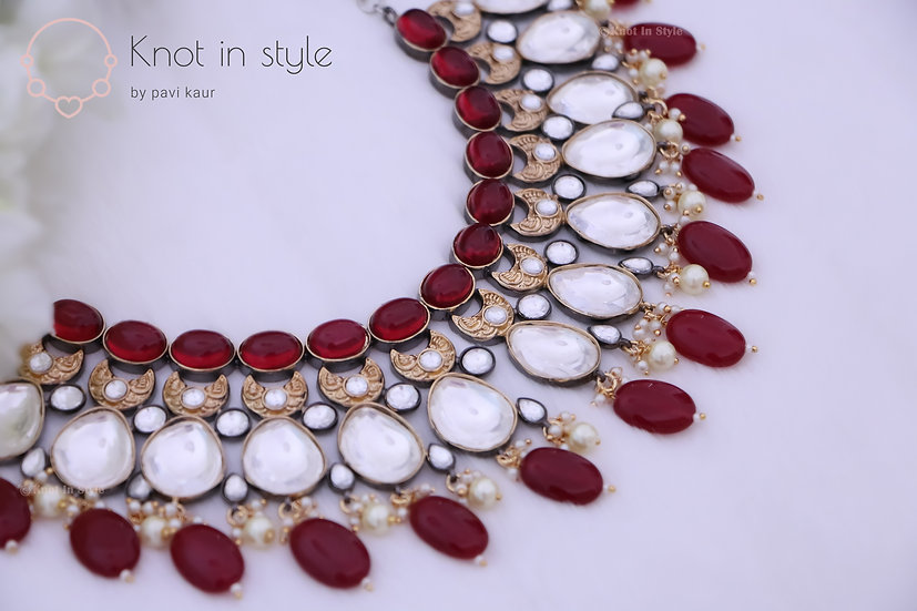 """NAVAGIO"" Kundan necklace piece with earrings"
