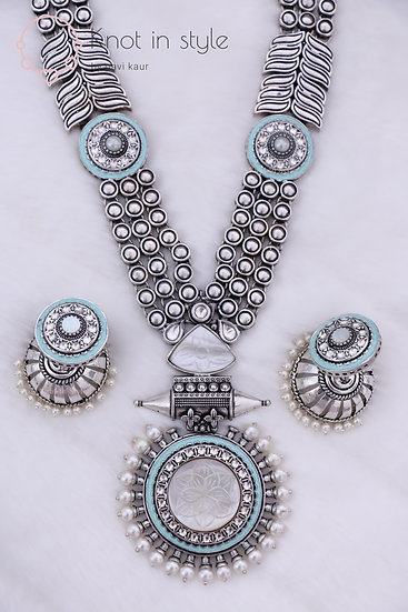 """CHITTORGARH"" Oxidized long haar with jhumkis"