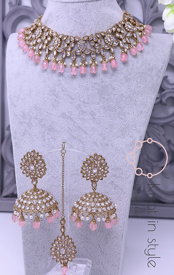 Polki necklace set (gold with silver stones on top)