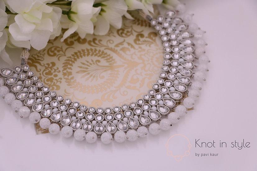 """""""TAJ MAHAL"""" silver polki necklace"""