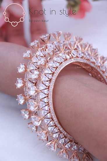 Diamond cut rose gold bracelets (single piece)