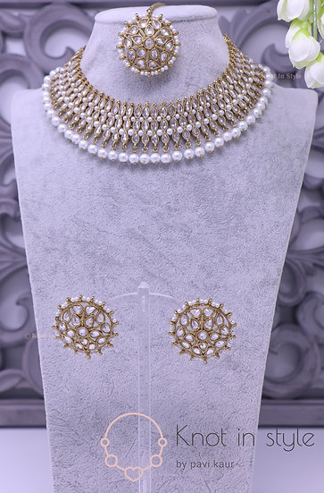 Polki necklace set with studs