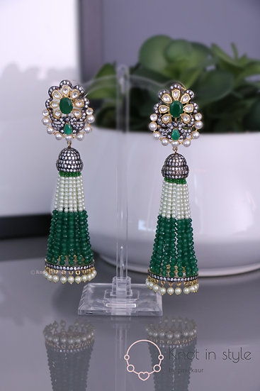 """YOHO"" Kundan oversize earrings"