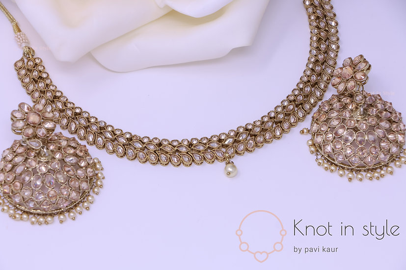 Polki necklace set with jhumkis (no tikka)